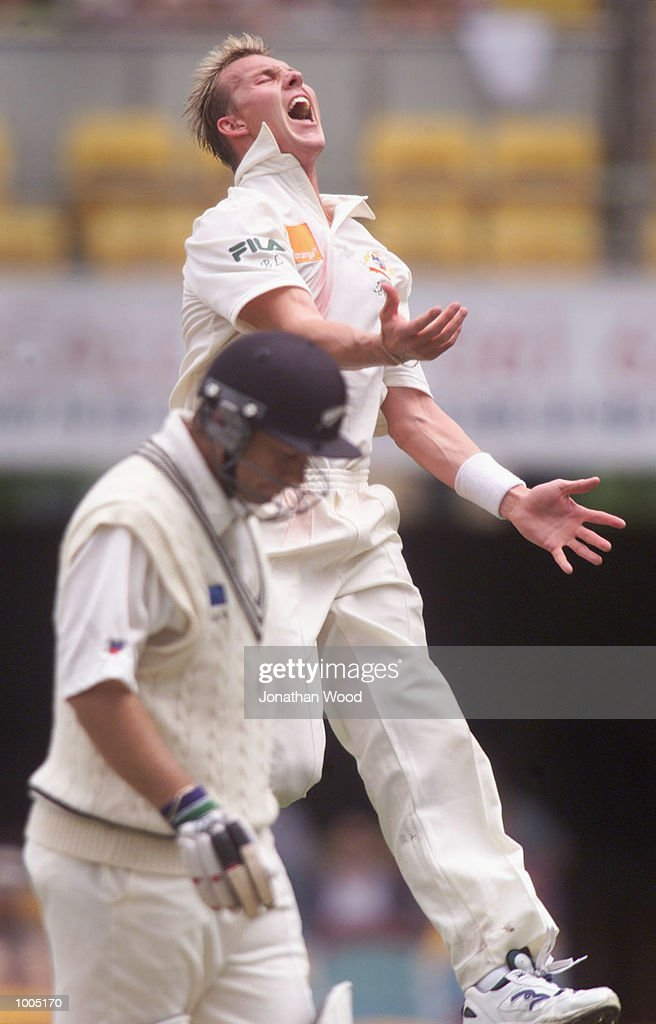 Brett Lee of Australia celebrates the wicket of Craig McMillan of New Zealand during the fourth day of play in the first Test between Australia and New Zealand being played at the Gabba, Brisbane, Australia. DIGITAL IMAGE. Mandatory Credit: Jonathan Wood/ALLSPORT