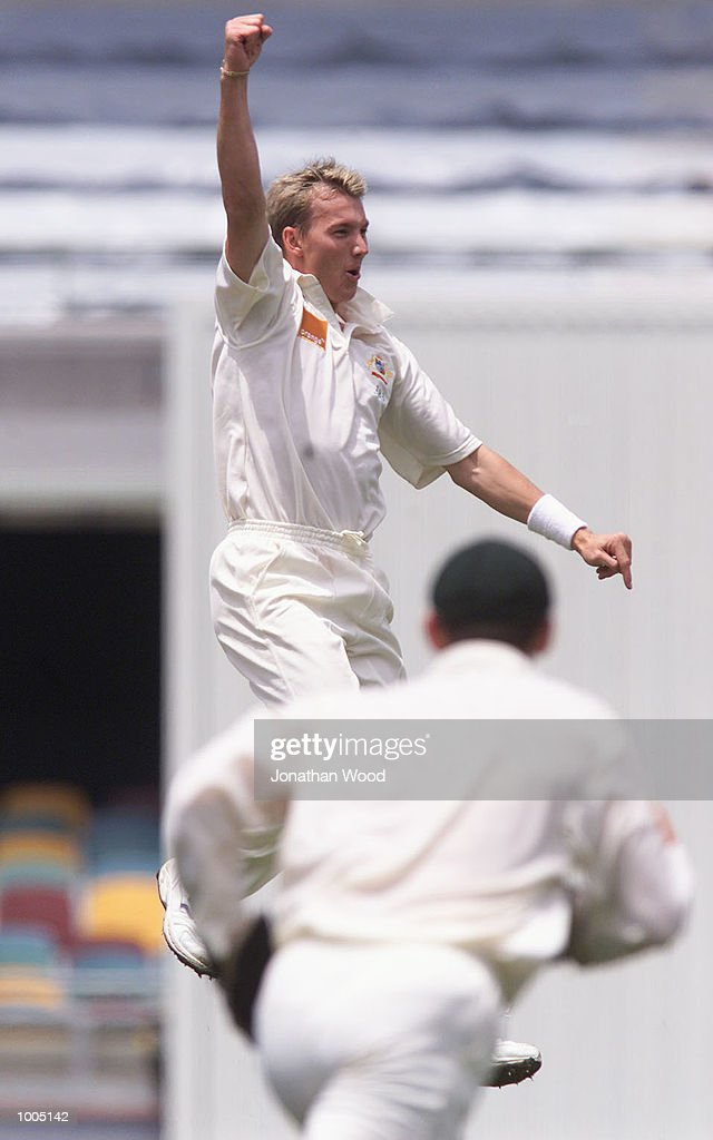 Brett Lee of Australia celebrates the wicket of Matthew Sinclair of New Zealand during the fourth day of play in the first Test between Australia and New Zealand being played at the Gabba, Brisbane, Australia. DIGITAL IMAGE. Mandatory Credit: Jonathan Wood/ALLSPORT