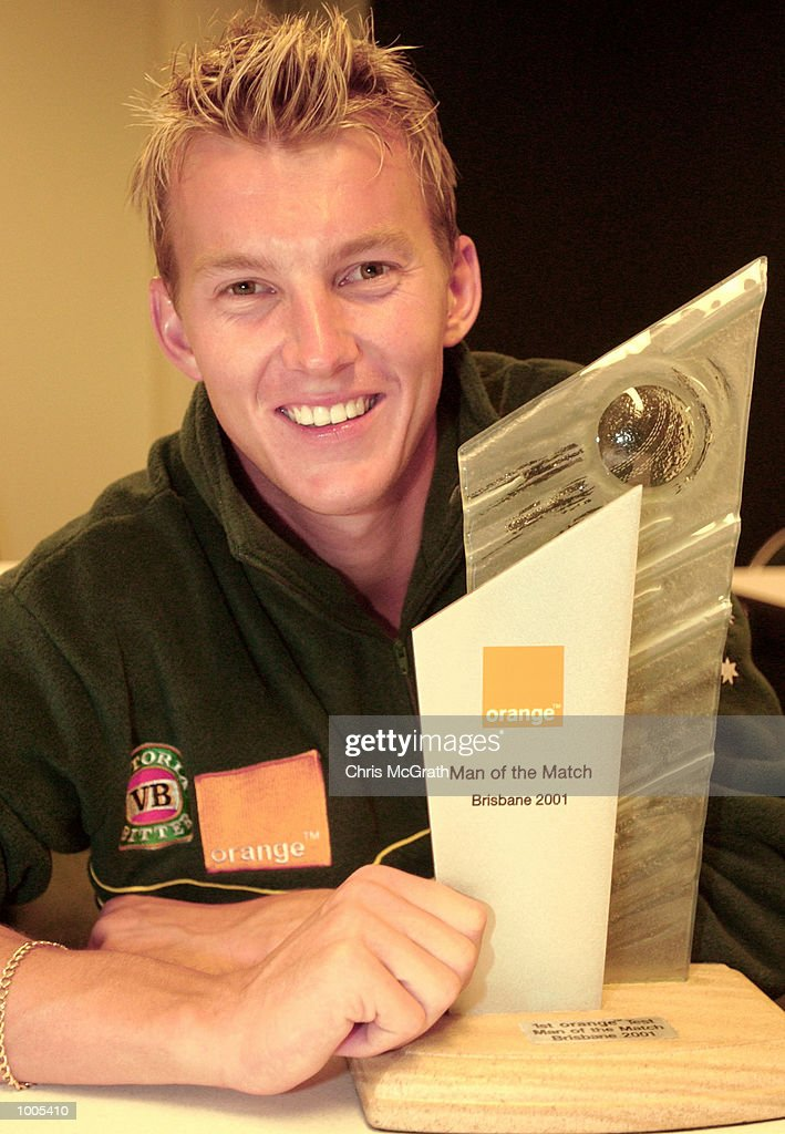 Brett Lee of Australia with the Man of The Match trophy during day five of the first cricket test between Australia and New Zealand held at the Gabba, Brisbane, Australia, DIGITAL IMAGE Mandatory Credit: Chris McGrath/ALLSPORT