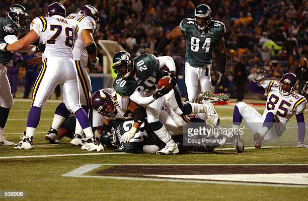 Brian Dawkins defensive back of the Philadelphia Eagles recovers a ball fumbled in the endzone by the Minnesota Vikings in their game at Veterans...