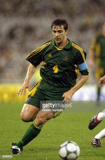 Captain Paul Okon of Australia in action during the soccer friendly between Australia v France at the Melbourne Cricket Ground Melbourne Australia...