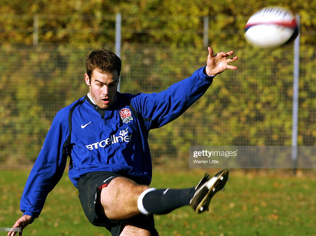 Charlie Hodgson of England kicks the ball up field during training at Sandhurst Acadamy in Camberley, Surrey. DIGITAL IMAGE. Mandatory Credit: Warren Little/ALLSPORT