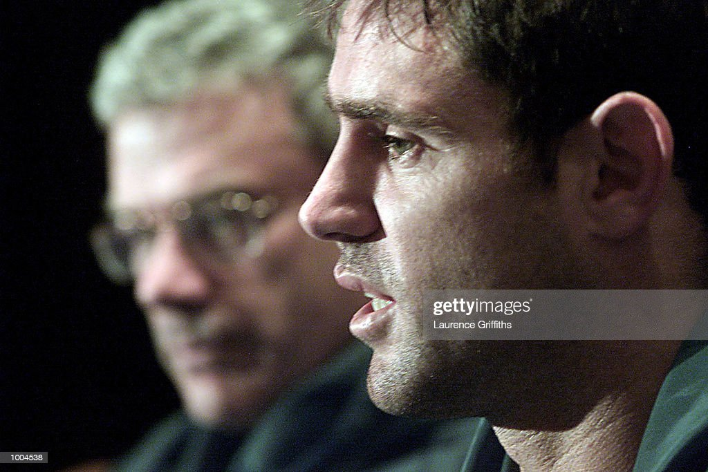 Chris Anderson and Brad Fittler of Australia during a press conference at the Marriott Hotel in Leeds. DIGITAL IMAGE. Mandatory Credit: Laurence Griffiths/ALLSPORT