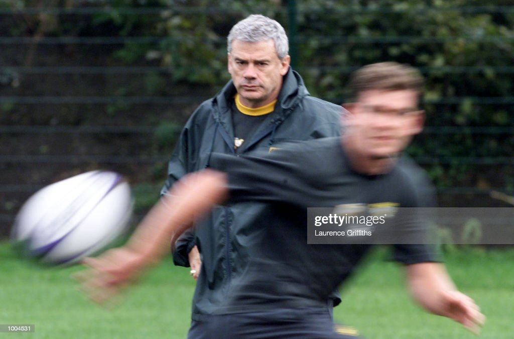 Chris Anderson coach of Australia watches his team during their first training session at Kirkstall Rugby ground in Leeds. DIGITAL IMAGE. Mandatory Credit: Laurence Griffiths/ALLSPORT