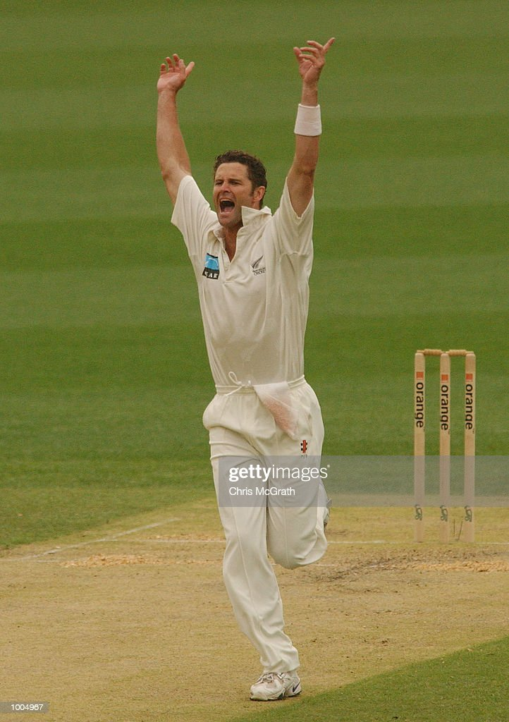 Chris Cairns of New Zealand celebrates after taking the wicket of Brett Lee during day three of the first cricket test between Australia and New Zealand held at the Gabba, Brisbane, Australia, DIGITAL IMAGE Mandatory Credit: Chris McGrath/ALLSPORT