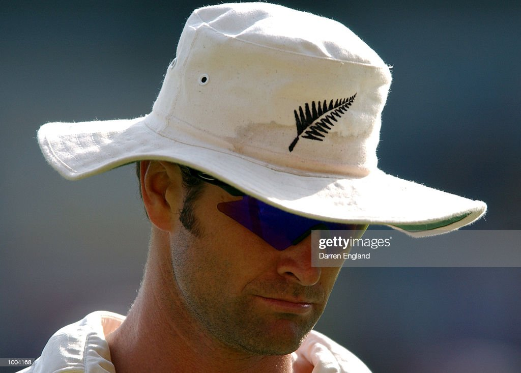 Chris Cairns of New Zealand in a pensive moment in the out field during the New Zealand versus Queensland cricket match played at the Gabba in Brisbane, Australia. The match is part of the New Zealand team's tour of Australia. DIGITAL IMAGE. Mandatory Credit: Darren England/ALLSPORT