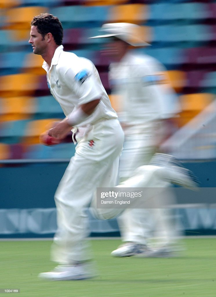 Chris Cairns of New Zealand in action bowling against Queensland during the New Zealand versus Queensland cricket match played at the Gabba in Brisbane, Australia. The match is part of the New Zealand team's tour of Australia. DIGITAL IMAGE. Mandatory Credit: Darren England/ALLSPORT