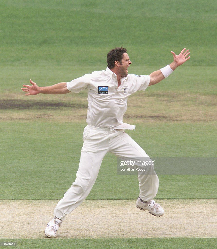 Chris Cairns of New Zealand in action during the first day of the first Test between Australia and New Zealand played at the Gabba, Brisbane, Australia. DIGITAL IMAGE. Mandatory Credit: Jonathan Wood/ALLSPORT