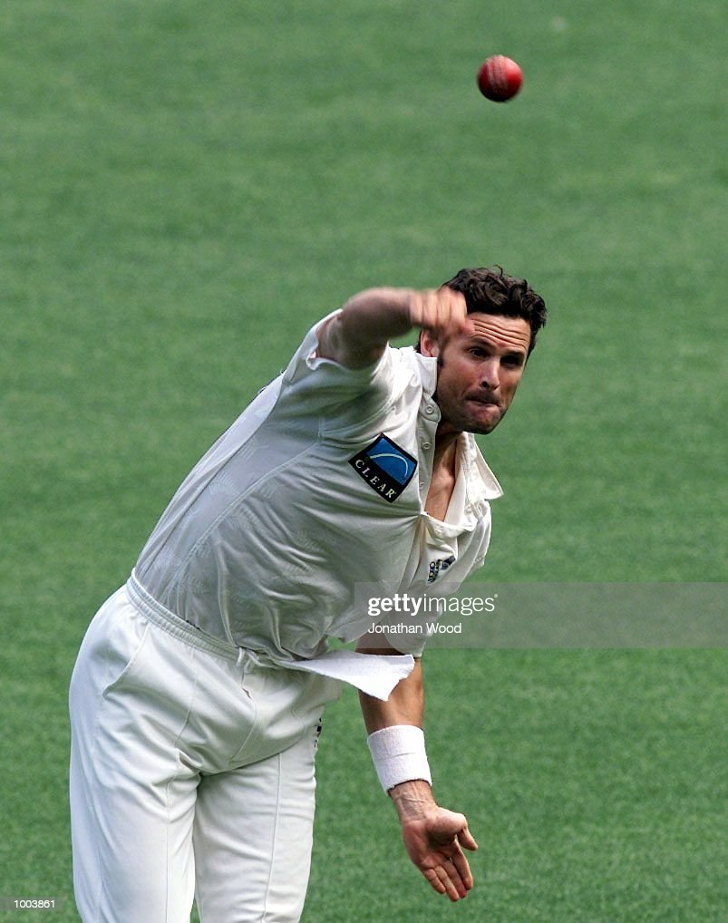 Chris Cairns of New Zealand in action during the second day of play between New Zealand and the Queensland Bulls at the Gabba, Brisbane, Australia. DIGITAL IMAGE. Mandatory Credit: Jonathan Wood/ALLSPORT