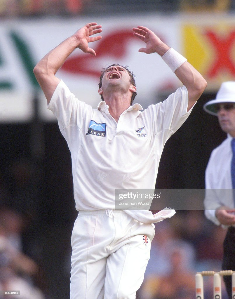 Chris Cairns of New Zealand shows his frustration at a dropped catch during the first day of the first Test between Australia and New Zealand played at the Gabba, Brisbane, Australia. DIGITAL IMAGE. Mandatory Credit: Jonathan Wood/ALLSPORT