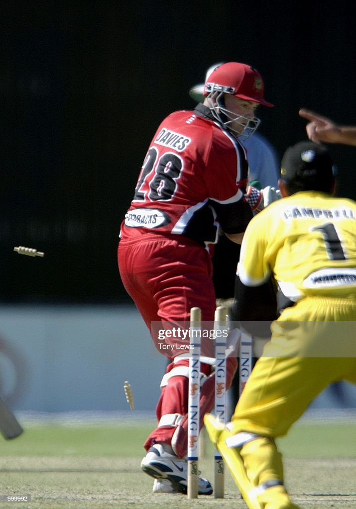 Chris Davies of South Australia is out bowled Jo Angel for 40 in the ING Cup day-night match between Western Australia and South Australia played at Adelaide Oval in Adelaide, Australia. DIGITAL IMAGE Mandatory Credit: Tony Lewis/ALLSPORT