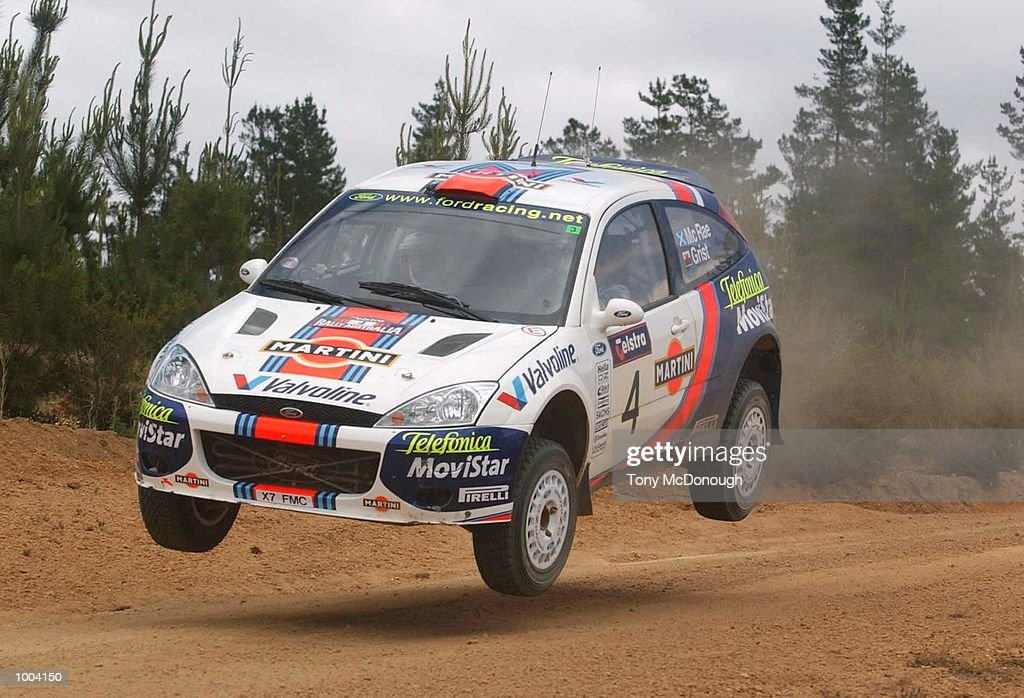 Colin McRae and co-driver Nicky Grist put their Ford Focus RS WRC 01 over a jump in the 4.19 km outback bush tracks around the Sotico Special Stage of the Telstra Rally Australia at Perth, Australia. DIGITAL IMAGE Mandatory Credit: TonyMcDonough/ALLSPORT