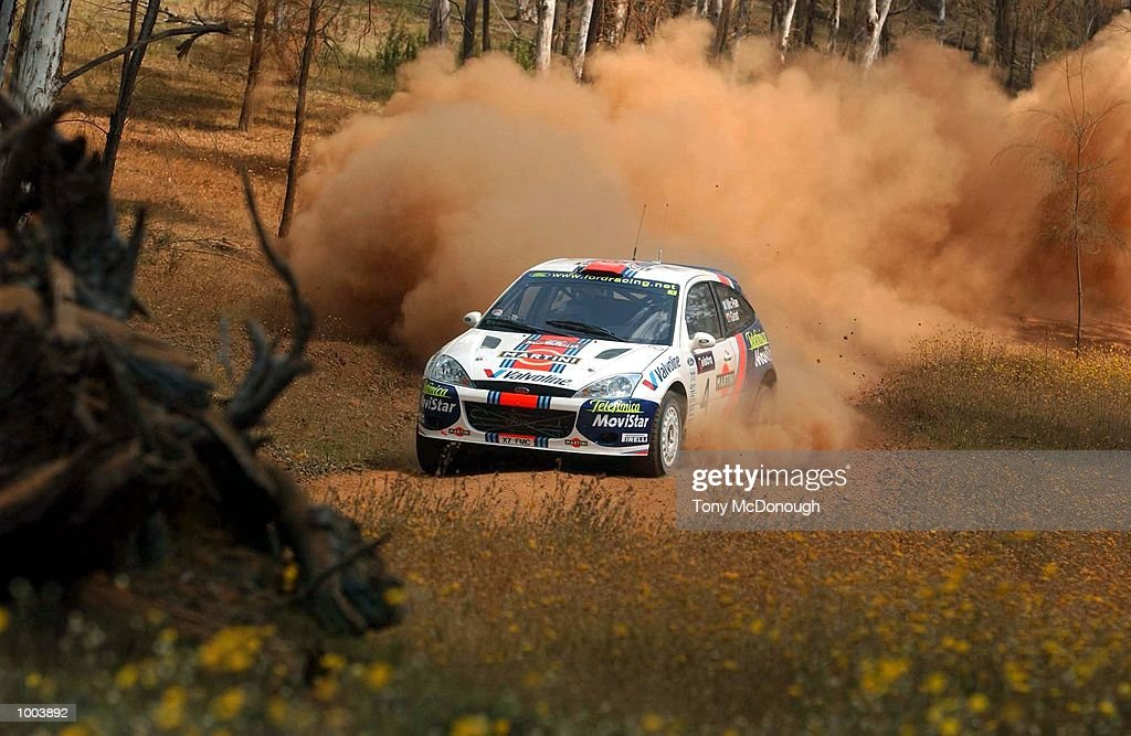 Colin McRae and Nicky Grist put their Ford Focus RS WRC 01 to the test on the outback bush tracks around Mundaring during the 19.98 km Special Stage 'Flynn's Short' Leg 1 of the Telstra Rally Australia at Perth, Australia. DIGITAL IMAGE Mandatory Credit: Tony McDonough/ALLSPORT