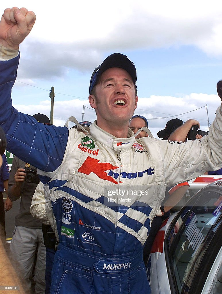Commodore VX driver Greg Murphy #51 celebrates after winning race 3 during round 12 of the Shell championship series at Pukekohe Park Raceway, south of Auckland, New Zealand on Sunday. Murphy won all 3 races this weekend to be round 12 winner. Mandatory Credit: Nigel Marple/ALLSPORT