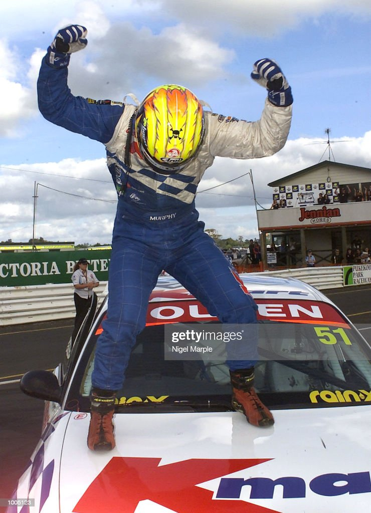 Commodore VX driver Greg Murphy #51 does a little dance on his car after winning race 3 during round 12 of the Shell championship series at Pukekohe Park Raceway, south of Auckland, New Zealand. Murphy won all 3 races this weekend. Mandatory Credit: Nigel Marple/ALLSPORT