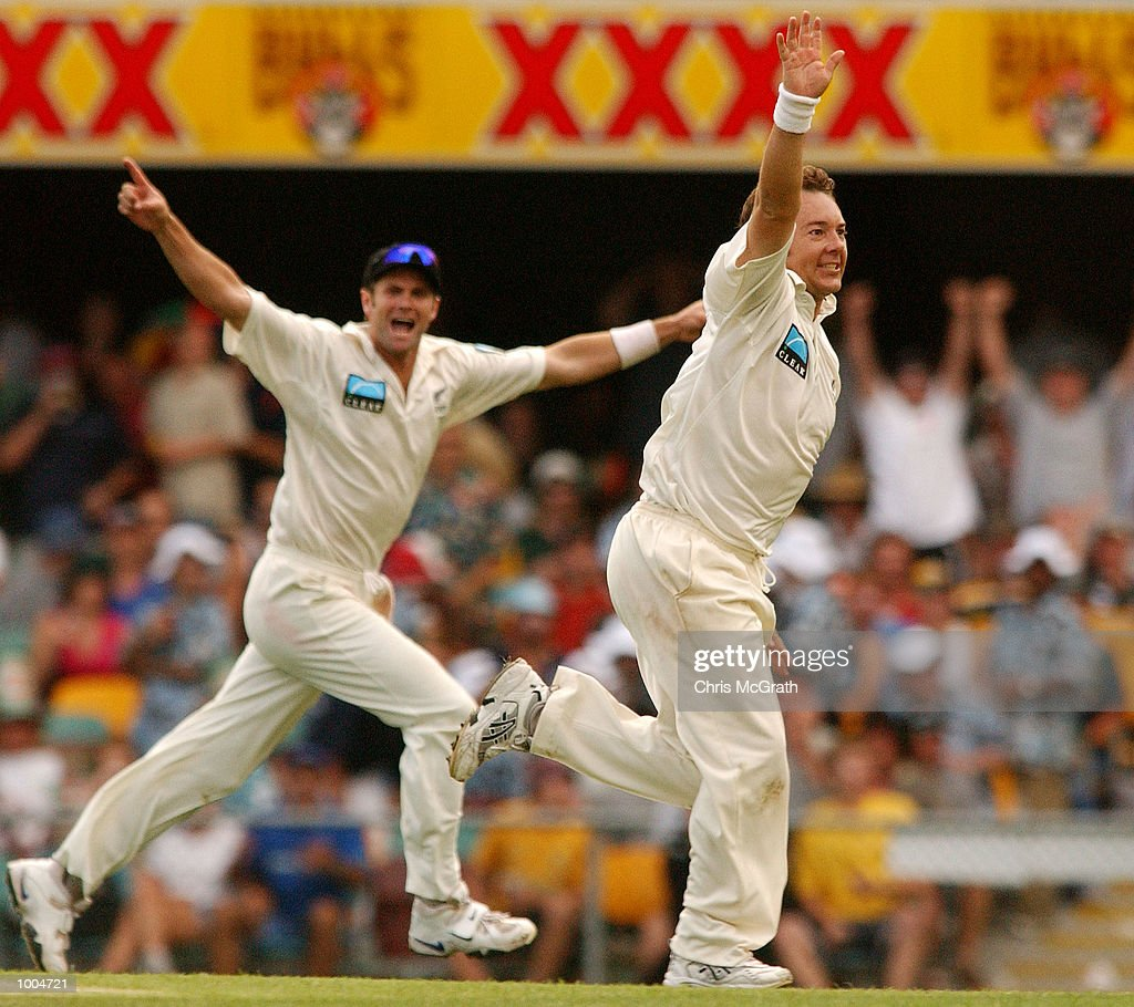 Craig McMillan of New Zealand celebrates after taking a wicket during day one of the first cricket test between Australia and New Zealand held at the Gabba, Brisbane, Australia, DIGITAL IMAGE Mandatory Credit: Chris McGrath/ALLSPORT