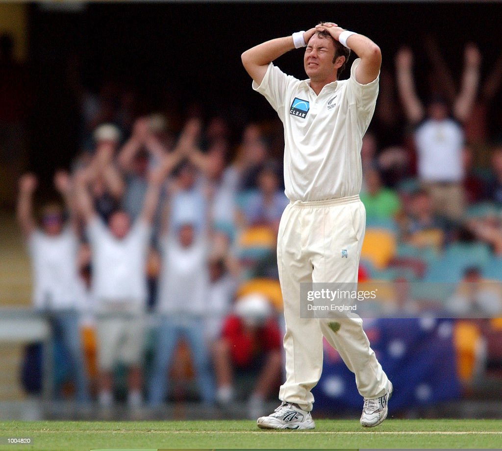 Craig McMillan of New Zealand shows his frustration after Brett Lee of Australia is dropped in the outfield during day two of the first Cricket test between Australia and New Zealand played at the Gabba in Brisbane, Australia. DIGITAL IMAGE. Mandatory Credit: Darren England/ALLSPORT