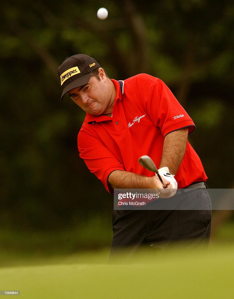 Craig Parry of Australia chips out of the bunker on the 14th hole during the first round of the Australian PGA Championships being played at Royal Queensland Golf Club, Brisbane, Australia. DIGITAL IMAGE Mandatory Credit: Chris McGrath/ALLSPORT