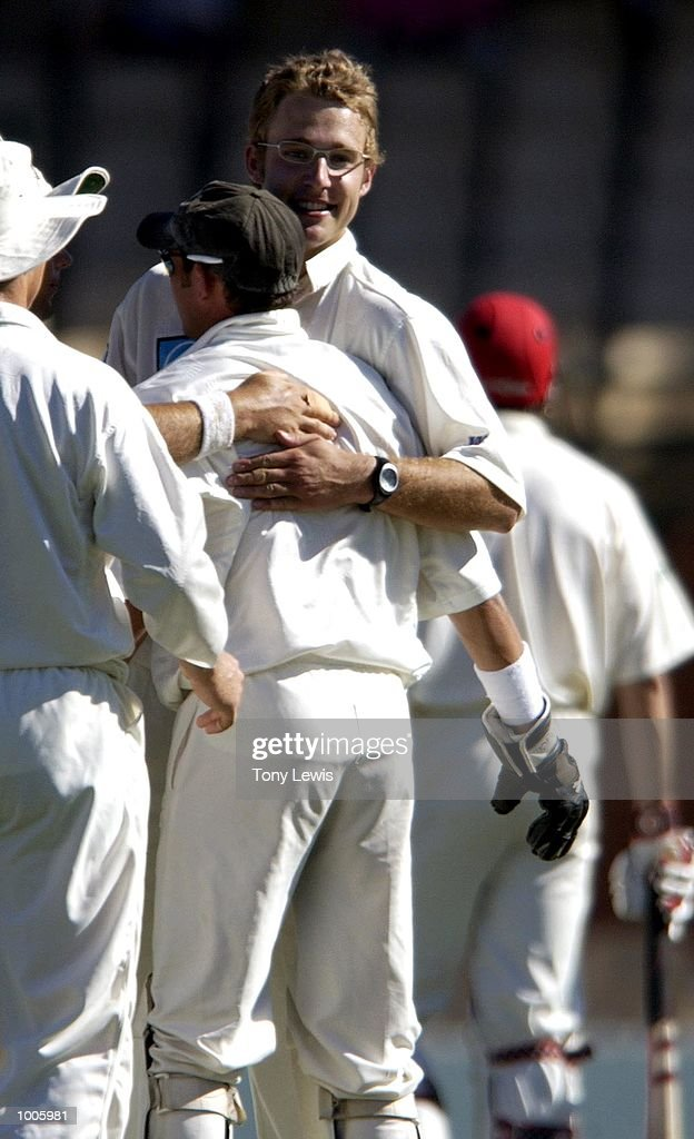 Daniel Vettori of New Zealand celebrates with keeper Adam Parore after the wicket of Brad Young, caught behind for 37 in the match between South Australia and New Zealand played at the Adelaide Oval in Adelaide, Australia. DIGITAL IMAGE Mandatory Credit: Tony Lewis/ALLSPORT