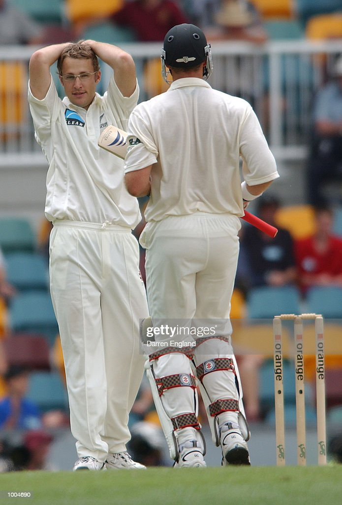 Daniel Vettori of New Zealand shows his frustration after being hit for six runs by Matthew Hayden of Australia during day one of the first Cricket test between Australia and New Zealand played at the Gabba in Brisbane, Australia. DIGITAL IMAGE. Mandatory Credit: Darren England/ALLSPORT