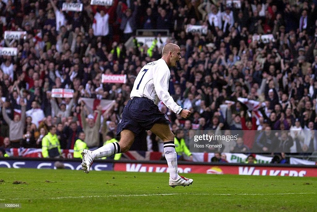 David Beckham of England celebrates after scoring the first goal with a penalty during the England v Sweden International friendly at Old Trafford, Manchester. DIGITAL IMAGE Mandatory Credit: Ross Kinnaird/ALLSPORT