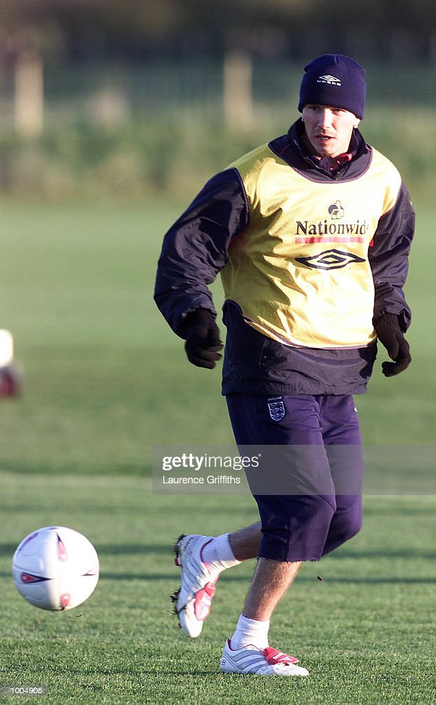 David Beckham of England during training ahead of their freindly against Sweden on Saturday at Old Trafford in Manchester. DIGITAL IMAGE. Mandatory Credit: Laurence Griffiths/ALLSPORT
