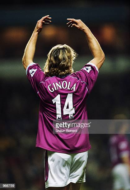 David Ginola of Aston Villa in action during the FA Barclaycard Premiership match between Aston Villa and Middlesbrough played at Villa Park in...