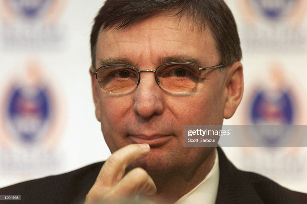 David Moffett speaks during a press conference to announce his resignation from the office of Chief Executive of the National Rugby League held at NRL Headquaters at Fox Studios in Sydney, Australia. DIGITAL IMAGE. Mandatory Credit: ScottBarbour/ALLSPORT