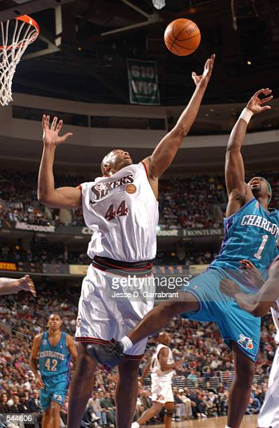 Derrick Coleman grabs a rebound in a win over the Charlotte Hornets at First Union Center in Philadelphia Pennsylvania DIGITAL IMAGE NOTE TO USER...