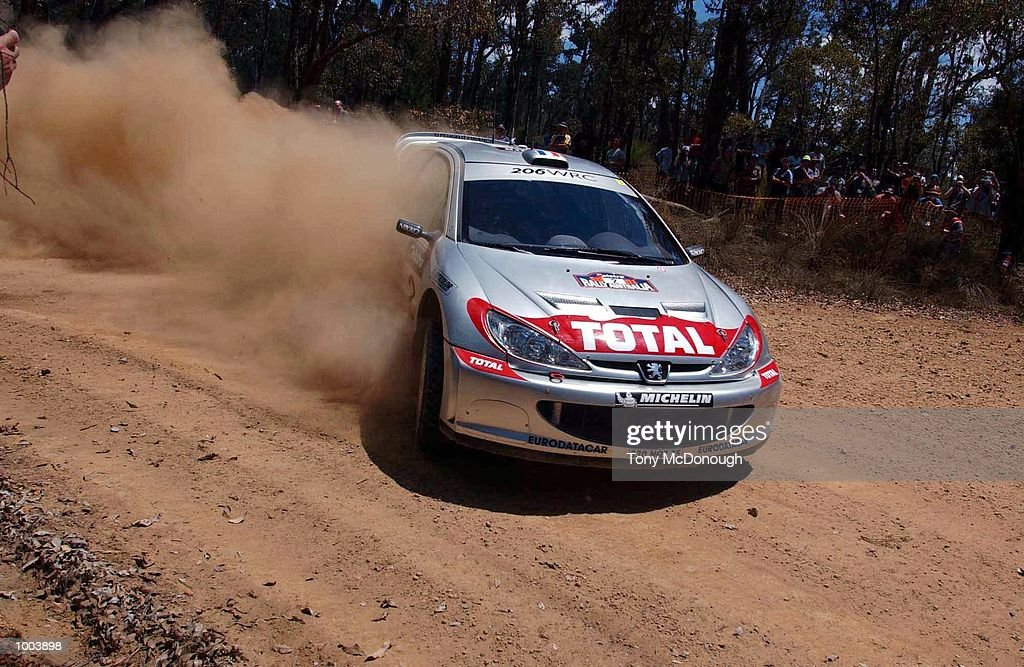 Didier Auriol and Denis Giraudet put their Peugeot 206 WRC to the test on the outback bush tracks around Mundaring during the 9.56 km Special Stage 'Kev's' of Leg 1 of the Telstra Rally Australia at Perth, Australia. DIGITAL IMAGE Mandatory Credit: Tony McDonough/ALLSPORT