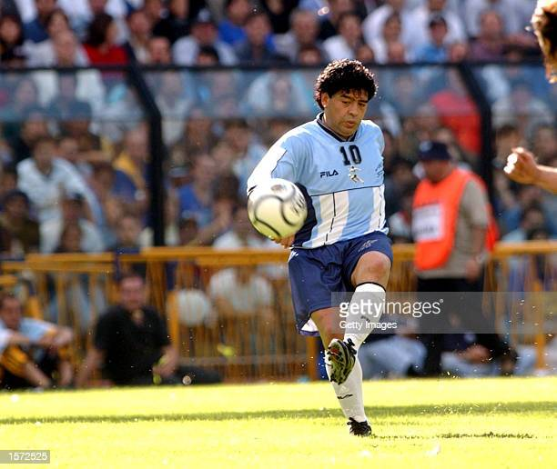 Diego Maradona of Argentina in action during a tribute match held in his honour between Argentina and a World XI played in the Camilio Cichero...