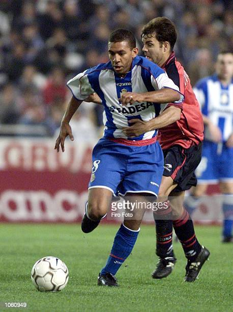 Djalminha of Deportivo La Coruna in action during the Primera Liga match between Deportivo La Coruna and Osasuna played at the Riazor Stadium La...