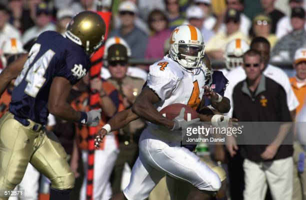 Donte'' Stallworth of Tennessee in action against Notre Dame during the game at Notre Dame Stadium in South Bend, Indiana. Tennessee won 28-10....
