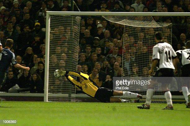 Edwin van der Sar of Fulham saves Alan Shearer's penalty of Newcastle in the Barclaycard Premiership match between Fulham and Newcastle United at...