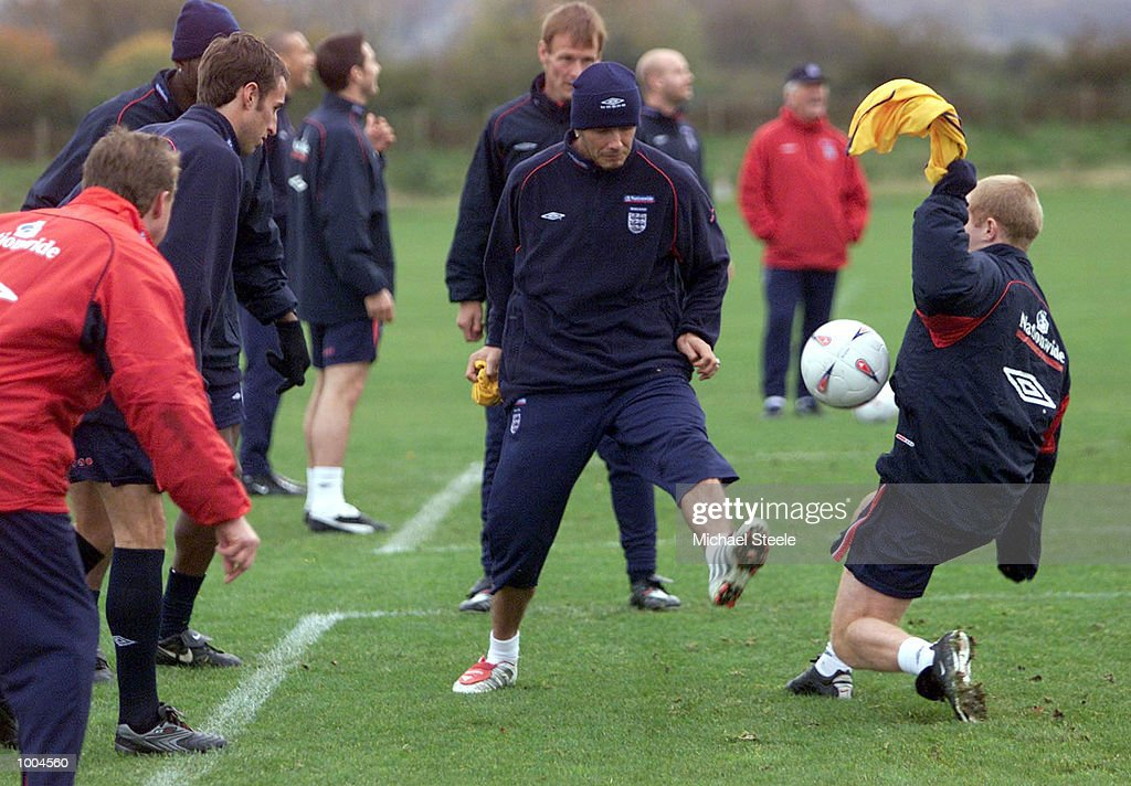 England captain David Beckham during England training at Carrington, Manchester. DIGITAL IMAGE. Mandatory Credit: Michael Steele/ALLSPORT