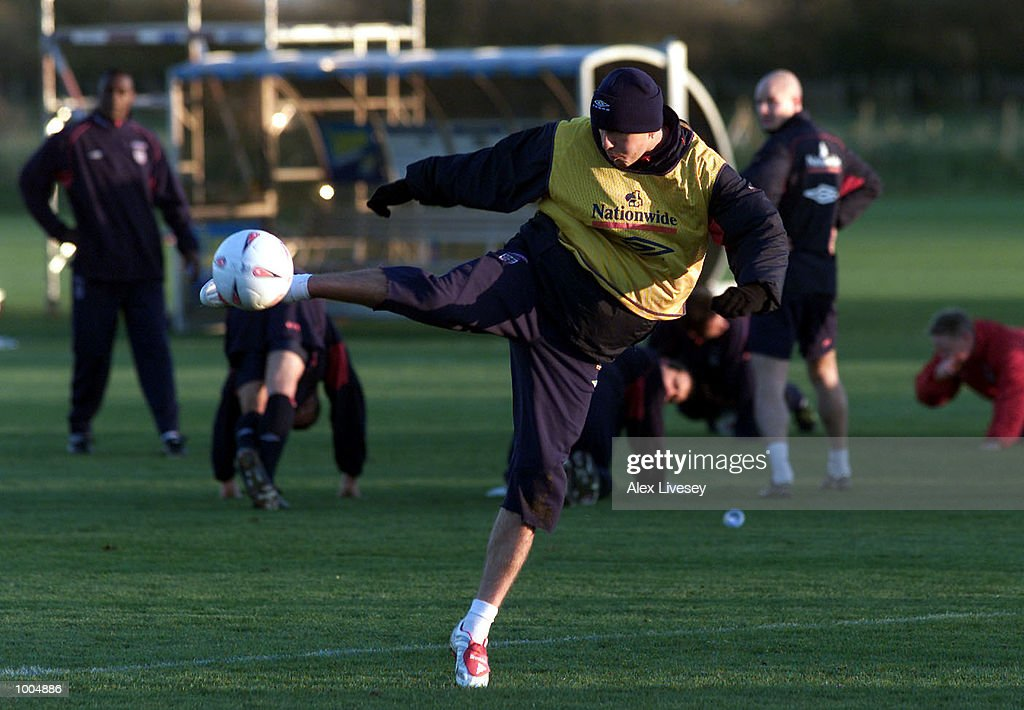 England captain, David Beckham during today's England training session at the Carrington Training ground in Carrrington, Manchester. DIGITAL IMAGE. Mandatory Credit: Alex Livesey/ALLSPORT