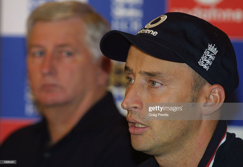 England captain Nasser Hussain and England coach Duncan Fletcher talk to the media at a press conference at the Marriott Hotel, Heathrow, prior to the team's flight to India for the forthcoming test series. DIGITAL IMAGE Mandatory Credit: Craig Prentis/ALLSPORT
