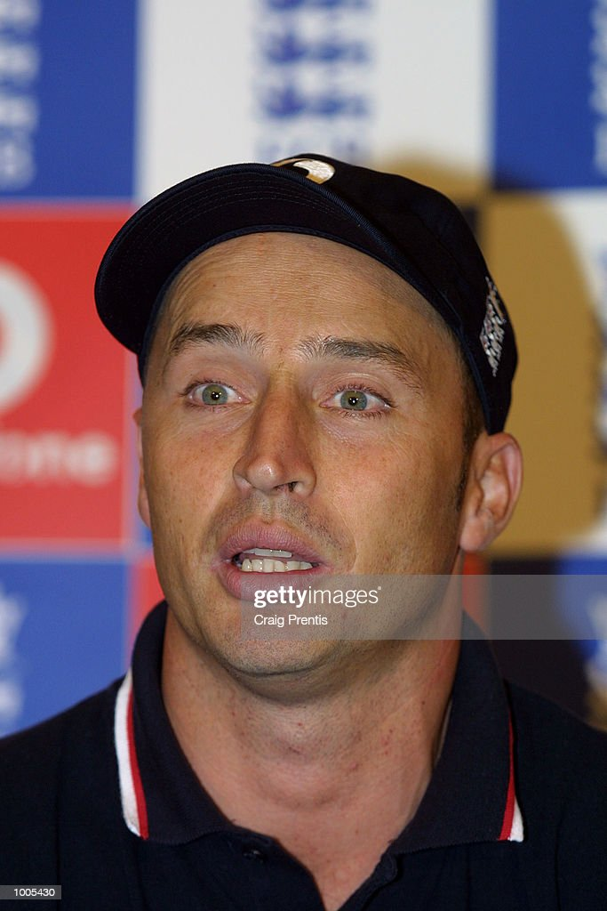 England captain Nasser Hussain talks to the media at a press conference at the Marriott Hotel, Heathrow, prior to the team's flight to India for the forthcoming Test series. DIGITAL IMAGE Mandatory Credit: Craig Prentis/ALLSPORT