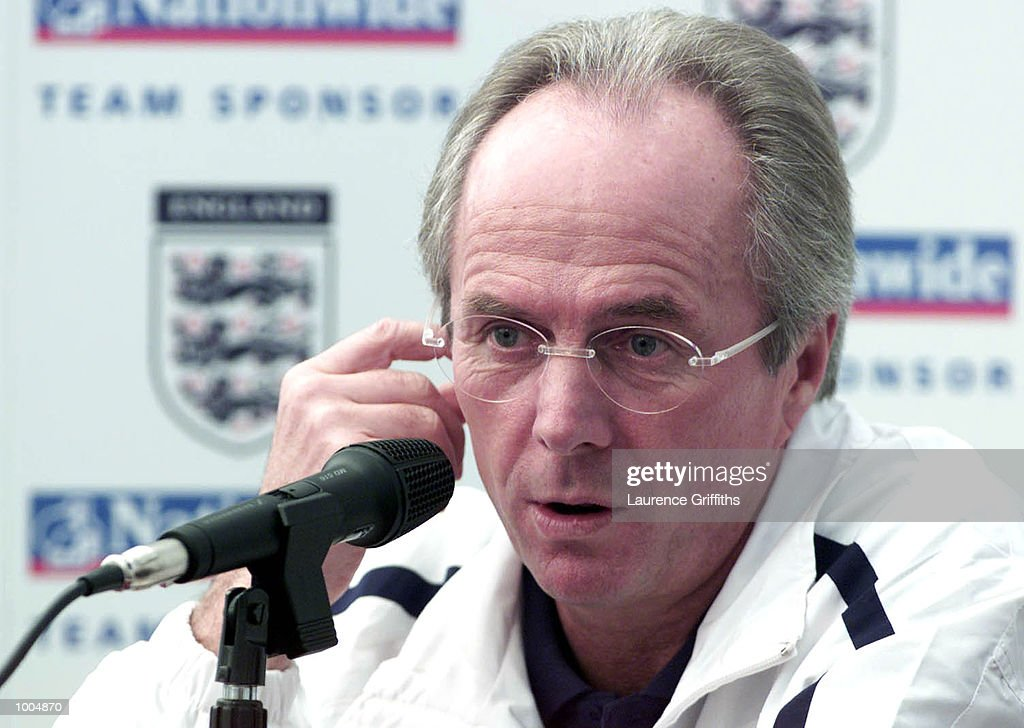 England coach Sven Goran Eriksson talks to the assembled media during a press conference at the Marriott Hotel in Worsley ahead of the freindly International match between England and Sweden on Saturday at Old Trafford in Manchester. DIGITALIMAGE. Mandatory Credit: Laurence Griffiths/ALLSPORT