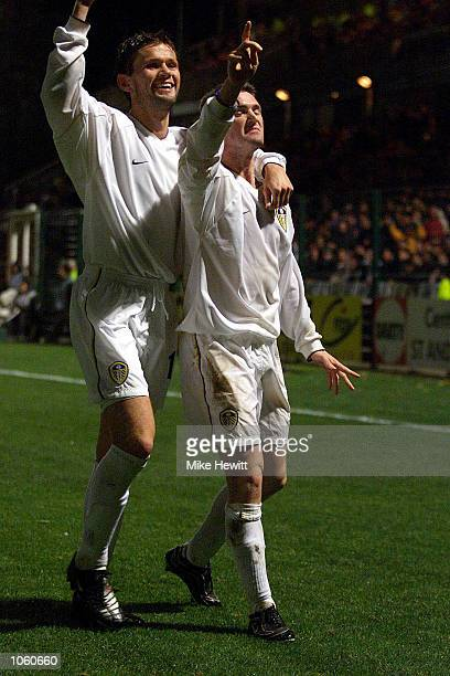 Erik Bakke and Robbie Keane of Leeds celebrate after Keane's decisive goal during the UEFA Cup Second Round Second Leg match between Troyes and Leeds...