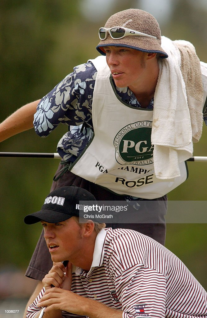 Ernie Rose of Australia lines up a putt on the 1st green with the help of his caddy during the third round of the Australian PGA Championship being played at Royal Queensland Golf Club in Brisbane, Australia. DIGITAL IMAGE. Mandatory Credit: Chris McGrath/ALLSPORT