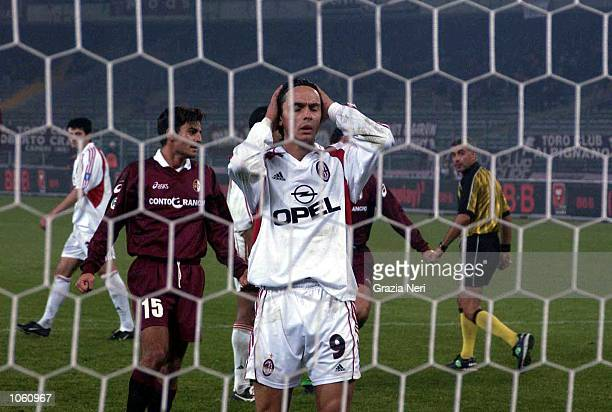 Filippo Inzaghi of AC Milan misses a penalty during the Serie A match between Torino and AC Milan played at the Delle Alpi Stadium Torino DIGITAL...