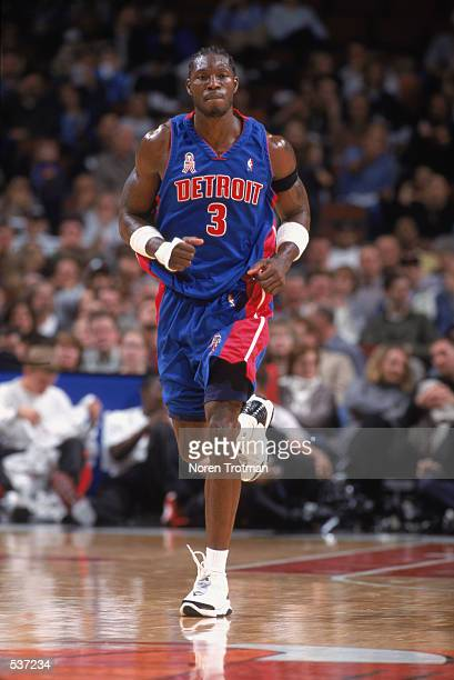 Forward Ben Wallace of the Detroit Pistons runs up the court during the NBA game against the Chicago Bulls at the United Center in Chicago Illinois...