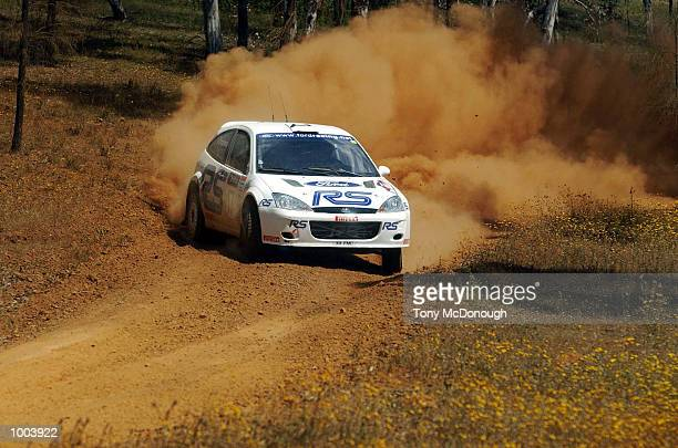Francois Delecour and codriver Daniel Grataloup put their Ford Focus RS WRC 01 to the test on the outback bush tracks around Mundaring during the...