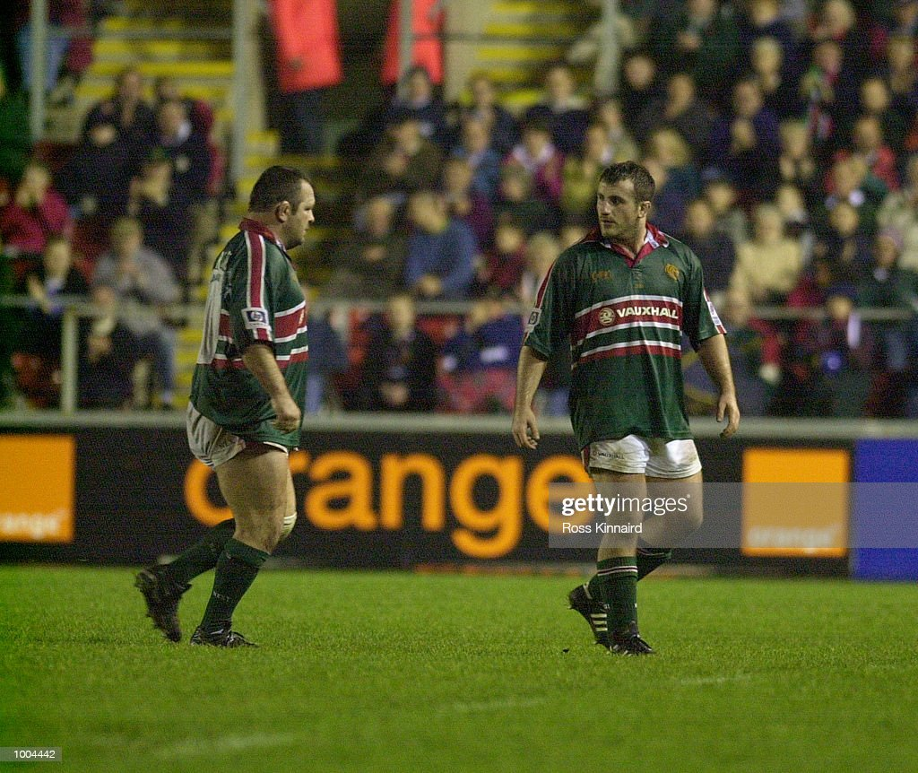George Chuter and Darren Garforth (L) of Leicester Tigers during the Leicester Tigers v Perpignan Heineken Cup match at Welford Road, Leicester. DIGITAL IMAGE. Mandatory Credit: Ross Kinnaird/ALLSPORT