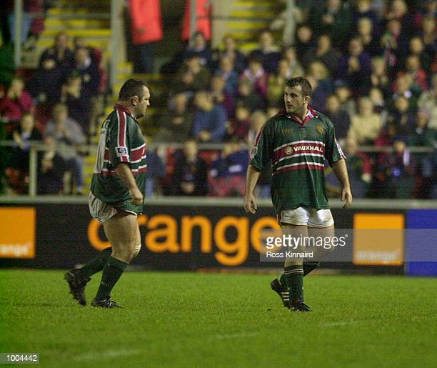 George Chuter and Darren Garforth of Leicester Tigers during the Leicester Tigers v Perpignan Heineken Cup match at Welford Road Leicester DIGITAL...