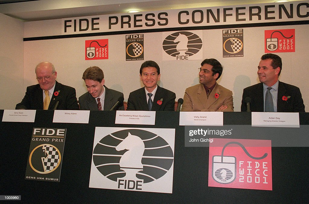 Gerry Welsh of the British Chess Federation, Mickey Adams World Speed Chess Champion and world number 4, H. E. Kirsan Illyumzhinov president of FIDE, Vishwanathan Anand of India World Chess Champion, and Aidan Day Managing Director of Octagon at the FIDE World Chess Championships Press Conference held at Chelsea Football Club. Mandatory Credit: John Gichigi/ALLSPORT