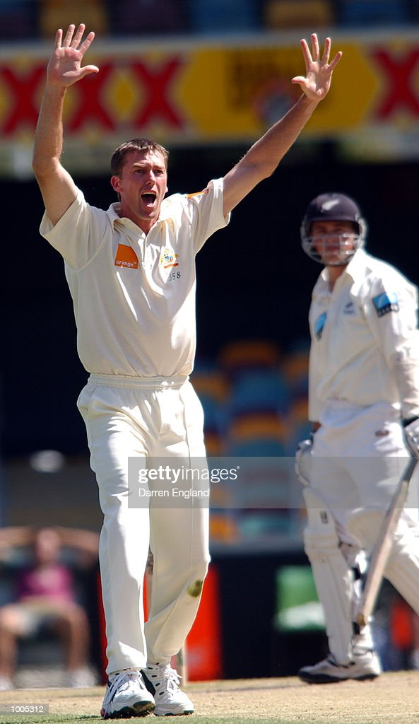 Glenn McGrath of Australia celebrates getting the wicket of Matthew Bell of New Zealand for five runs during day five of the first Cricket test between Australia and New Zealand played at the Gabba in Brisbane, Australia. DIGITAL IMAGE. Mandatory Credit: Darren England/ALLSPORT
