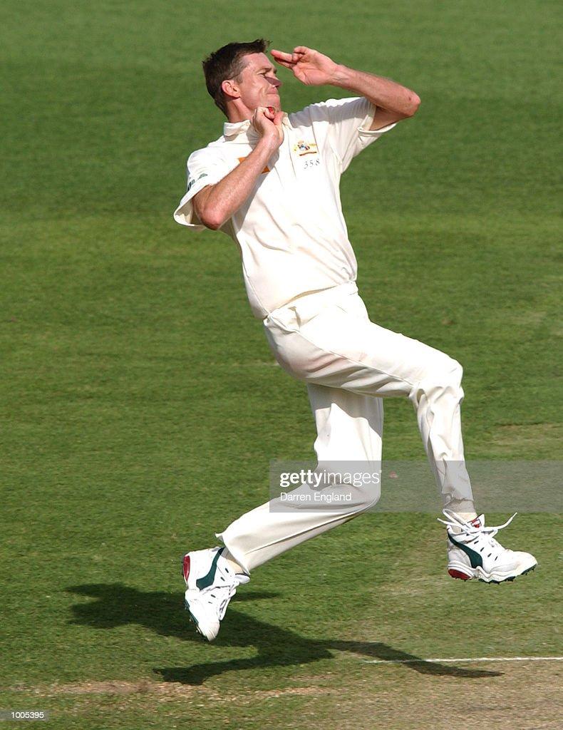 Glenn McGrath of Australia in action against New Zealand during day five of the first Cricket test between Australia and New Zealand played at the Gabba in Brisbane, Australia. DIGITAL IMAGE. Mandatory Credit: Darren England/ALLSPORT