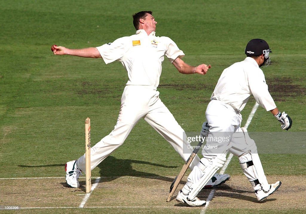 Glenn McGrath of Australia in action against New Zealand during day five of the first Cricket test between Australia and New Zealand played at the Gabba in Brisbane, Australia. DIGITAL IMAGE. Mandatory Credit: Darren England/ALLSPORT